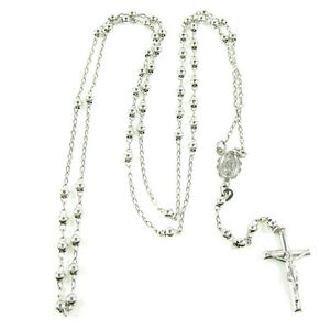 3mm 8 Grams Rosary Bead Ball Mens Ladies 10k White Gold Chain Necklace