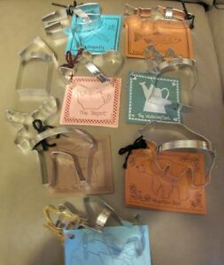 Lot of 8 New Unused Ann Clark Cookie Cutters with recipe cards