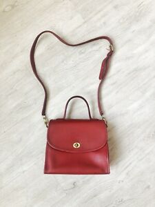 RARE Vintage Red Soft Leather Coach Handbag Crossbody! L5C-9977!!!