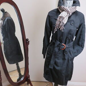 Italy Made Henry Cotton#x27;s S M 38 Classic Double Breasted Trench Coat Black Women