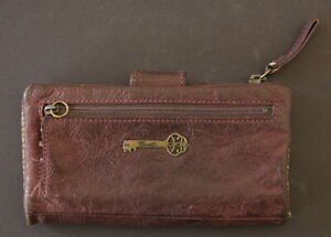 "FOSSIL Vtg. Womens Deep Red Leather Wallet Clutch 17x10cm6.7""x3.9"""