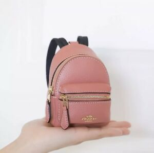 COACH LEATHER BACKPACK COIN PURSE CHARM KEY CHAIN PINK $125.00  NWT!
