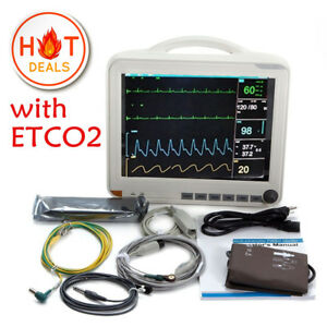 With ETCO2 15' ICU 6-Para Patient Monitor NIBPSPO2ECG TEMPRESPPR CO2 Module