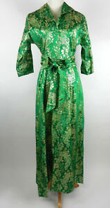 Saks Fifth Avenue 10 Womens Maxi Dress Vtg Green With Gold Brocade Design Custom