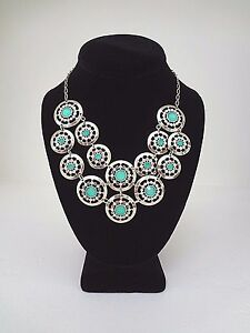 WHITE HOUSE BLACK MARKET Mint Medallion Bib Statement Necklace - Goldtone - NWT