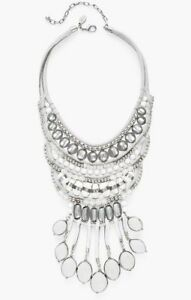 NWT CHICO'S GIA Ott Chunky White & Silver Tone HUGE Bib Statement Necklace $99