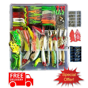 275 PCS Fishing Tackle Box Lures Bait Hooks Fish Catching Accessories Tool Kit