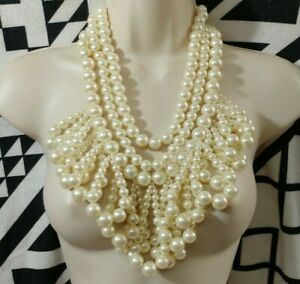 Vintage Off White Statement Lucite Pearl Fringe Bib Necklace
