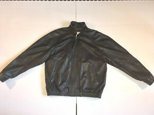 Bruno Magli Black Men Lambskin Soft Supple Leather Jacket Made In Italy Size 42!