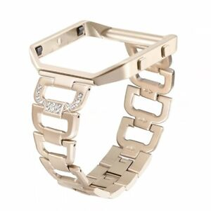 Rhinestone Bling Fitbit Blaze Replacement Band w Frame Stainless Steel For Women