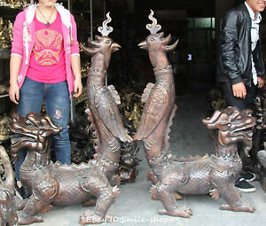 136CM Large Rare Bronze Pixiu Brave Troops Dragon Beast Phoenix Unicorn Pair