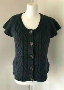 SEASALT Ladies Navy Blue Cable Knit Short Sleeve TWISTER CARDIGAN Size 12
