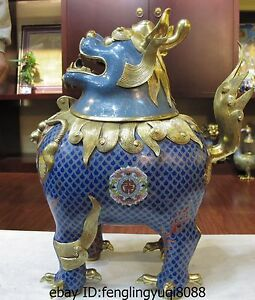 100% Bronze cloisonne 24K Gold Gilt Unicorn Foo Dog Lion Incense burner Statue