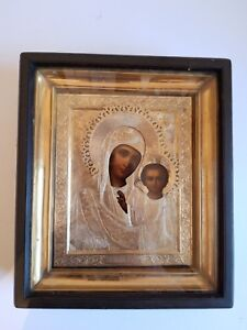 VERY RARE RUSSIAN ICON MOTHER GOD KAZAN GOLD PLATED RELIC 19C ANTIQUE