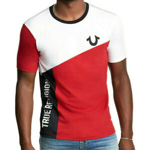 True Religion Men's Mesh Color Blocked Graphic Tee T-Shirt