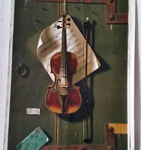 Antique Litho WILLIAM HARNETT The Old Violin 1887 Chromolithograph 35x24 in.