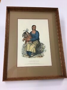 """McKenny amp; Hall 1836 Color Lithograph """"A Chippewas Widow"""" $299.00"""