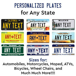 Personalized Custom License Plate Tag for Any State Auto Car Bicycle ATV Bike