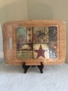 Western Rodeo Star Gourmet Bamboo Cutting Board NEW in packaging! Bucking Horse