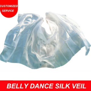 Hot selling women cheap belly dance silk veils 1 pc pure white color US Shipping