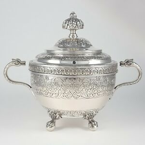 ANTIQUE 19TH CENTURY PORTUGUESE SILVER TWO-HANDLED BOWL & COVER 1814-1816