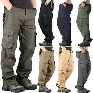 Mens Cargo Tactical Pants Combat Workwear Army Military Casual Outdoor Trousers