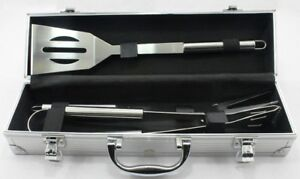 3 Piece BBQ Set Stainless Steel Outdoor Grill Tools Set Aluminum Case