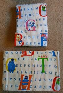 Vintage JP Stevens Sesame Street Alphabet Flannel Twin Flat & Fitted Sheet Set