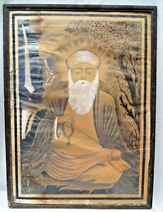 GURU NANAK SIKH ART PAINTING CHARCOAL PENCIL VINTAGE RARE COLLECTIBLES SIKHISM
