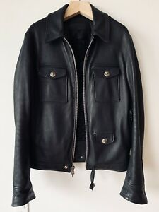 CHROME HEARTS BLACK LEATHER TRUCKER JACKET LARGE