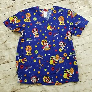Disney Small Halloween Scrub Top Mickey Minnie Mouse Donald Trick Treat Blue