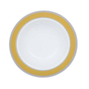 12 oz White Plastic Bowls with Gold and Silver Trim Wedding Disposable Tableware