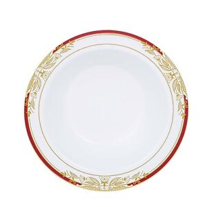 12 oz White Plastic Bowls with Gold and Red Trim Wedding Disposable Tableware