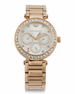 Juicy Couture Women's Cali Crystal Bezel Bracelet Watch Rose Gold Brand New