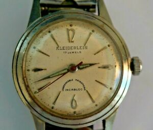 Rare VINTAGE Swiss Made KLEIDERLEIN 17 Jewels Incabloc Automatic Watch 1960's