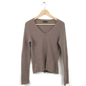 The Row Sweater L Brown Nut Cashmere Cable Knit V Neck Pullover Jumper Women's