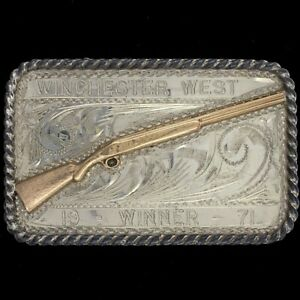 Winchester Sunset Trails Sterling Silver 10K Gold Cowboy Western Belt Buckle