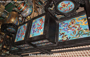 106cm Cloisonne Wood Palace Dragon Dragons Play Bead Conjoined Tables Chairs Set