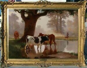 Hand-painted Old Master-Art Antique Animal Oil Painting cow on canvas 3