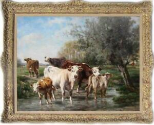 Hand-painted Old Master-Art Antique Animal Oil Painting cow on canvas 30