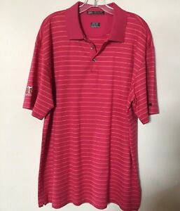 Mens Tiger Woods Nike Fit Dry  Golf Polo Shirt  Orange Stripe XL TG EG     E16