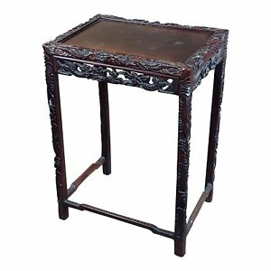 Chinese Antique side Table Stand wCarved Dragon design