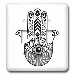 Light Switch Plate LSP 217281 2 Hamsa Hand Black and White