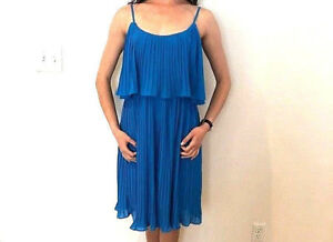 NEW NWT $138 ANTHROPOLOGIE TURQUOISE BLUE PLEATED DRESS STUNNING ANY OCCASION