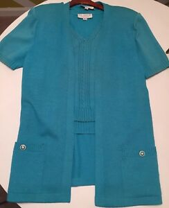 RARE St John Collection Santana Knit Jacket Tunic & Top Turquoise Blue Curacao