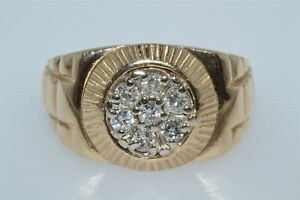 14K Yellow Gold Mens 0.70CTW Rolex Style Diamond Cluster Ring 10gr