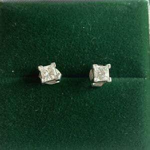.46 TCW Princess Cut Leo Diamond Stud Earrings Set in Platinum with Appraisal