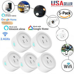 5PCS Smart WiFi Socket Wireless Power Mini Switch Remote Timer Outlet US Plug