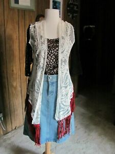 Origami By Vivian LADIES LACE AND FRINGE VEST SIZE SM MED Cotton Polyester Very