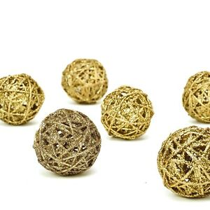 6 pcs 3quot; Gold Glittered Twig Rattan Ball Ornaments Wedding Party Vase Fillers $7.65